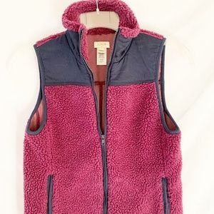 J. Crew shearling and navy vest